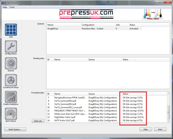 PressSave Server Screenshot
